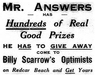 Mr. Answers, Optimsts, Redcar 1933