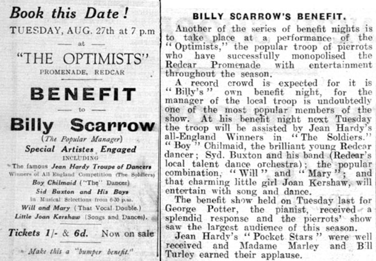Billy Scarrow's Optimists 1935 Benefit Night